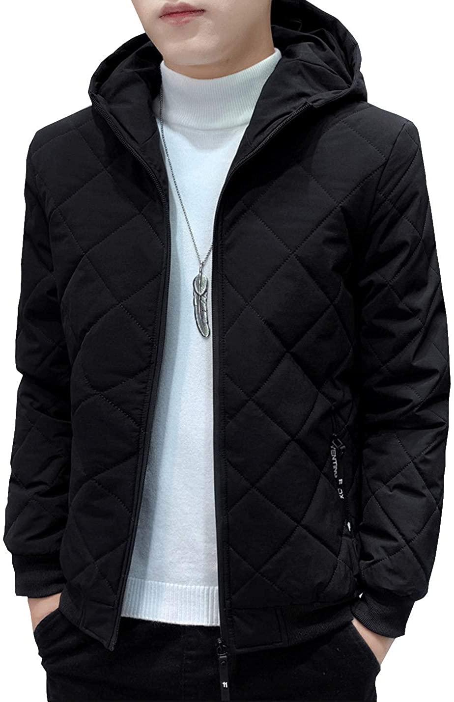 D.B.M Men's Lightweight Velvet Warm Long-Sleeved Hooded Quilted Cotton Jacket