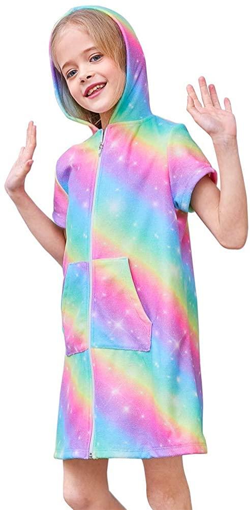 Beinou Terry Cover Up for Girls Swimwear Coverups Rainbow Purple Beach Dress