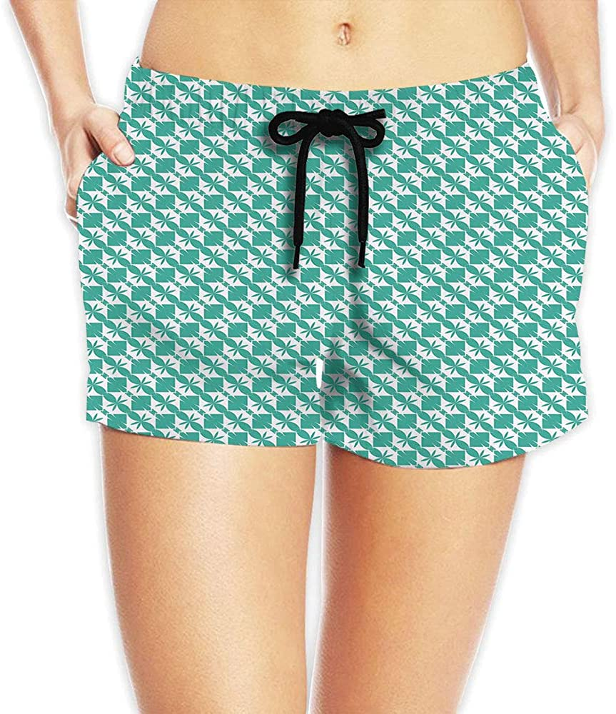C COABALLA Women's Geometric, Abstract Colorful Print Summer Beach Shorts No-73085