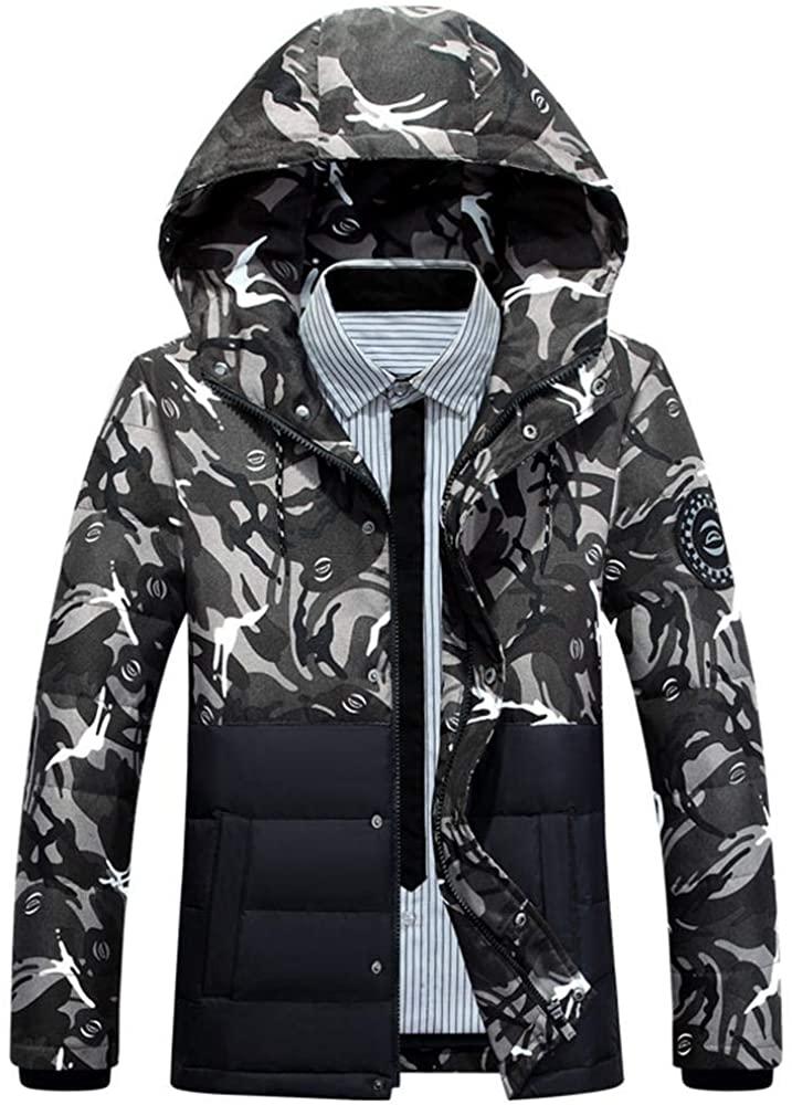 Wehor Winter Mens Short Camouflage Detachable Hat Outdoor Warm Duck Down Jacket