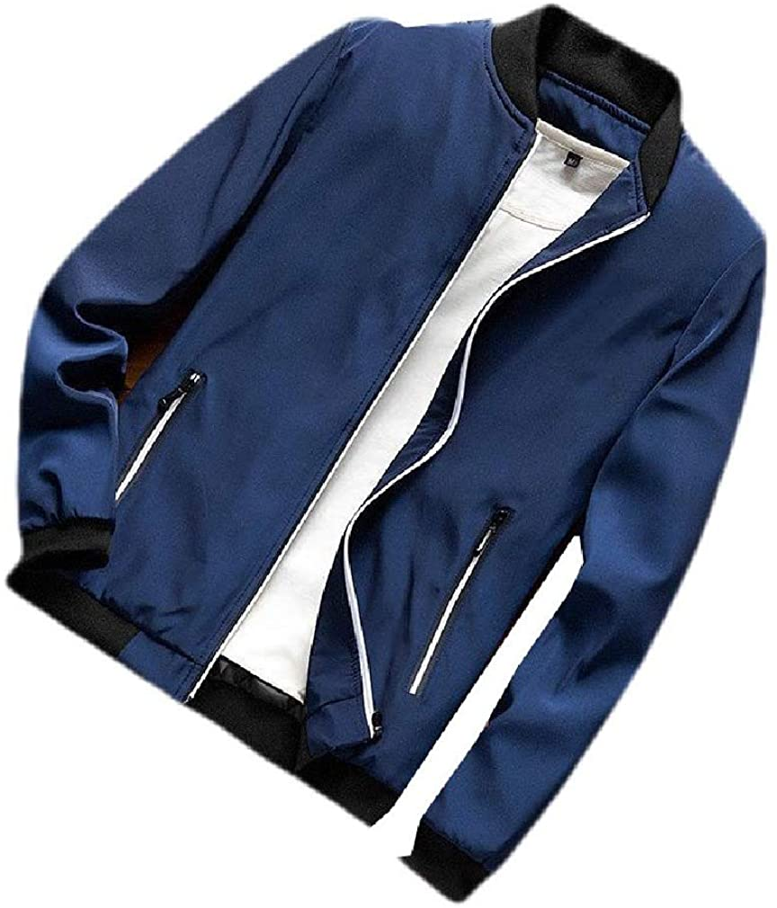 VITryst Mens Solid-Colored Casual Stand-up Collar Baseball Punk Rock Coats with Zips