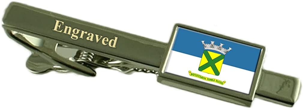 Santo Andre City Sao Paulo State Flag Tie Clip Engraved in Pouch