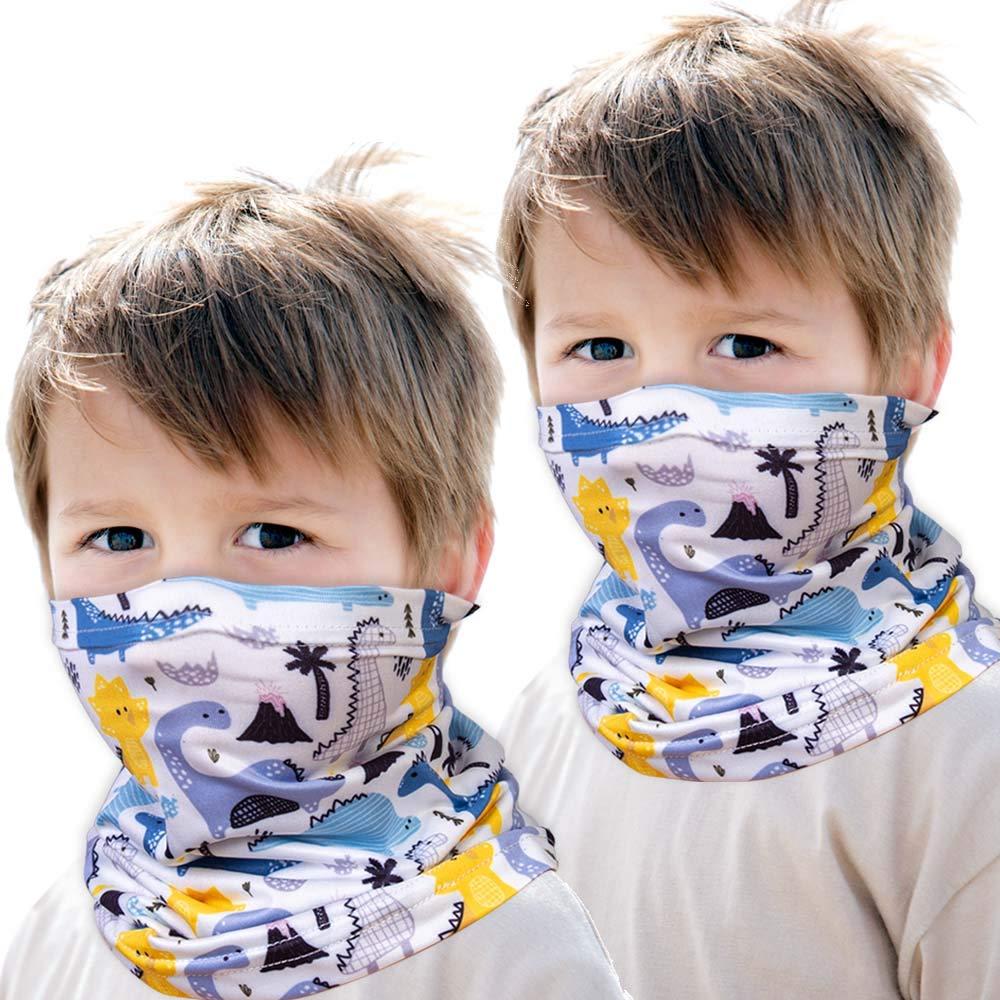 2PCS Boys Girls Neck Gaiter, Kids Bandana Face Mask (Dinosaur, White)