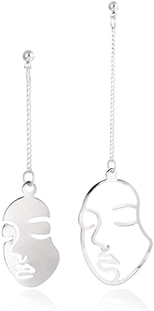 Earring Abstract Stylish Hollow Out Face Dangle Earrings Girl Statement Drop Earrings Statement Earrings