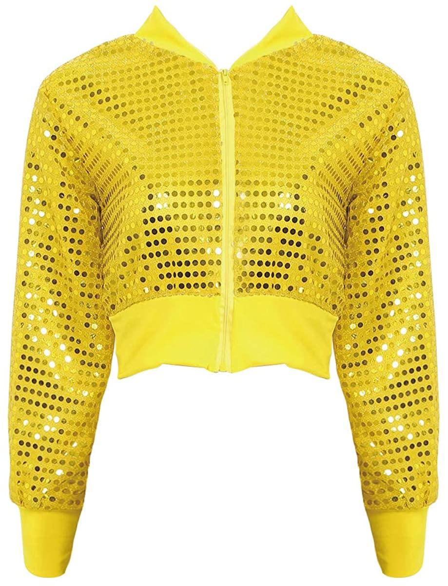 YiZYiF Womens Sequined Jacket Top Glitter Coat Female Tops Zipper Long Sleeve Rave Party Clubwear