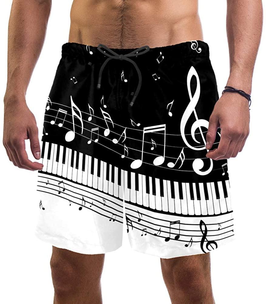 Black and White Keys Notes. Mens Swim Trunks Quick Dry Swim Shorts Swimwear XXL