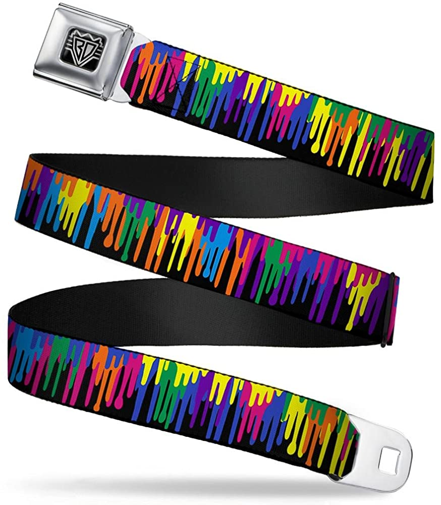 Buckle-Down Seatbelt Belt - Paint Drips Black/Multi Neon - 1.5 Wide - 32-52 Inches in Length