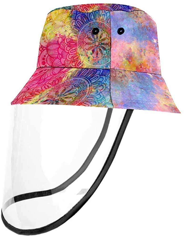 Colorful Mandala and Watercolor Ancient Geometric Texture Cap UV Sun Detachable Hat Bucket Caps for Women and Men