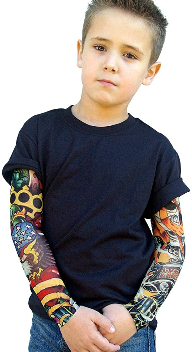 Wild Rose Boys Tattoo Sleeve Shirt - Flames Brass Knuckles Eagle - Black - 2/4