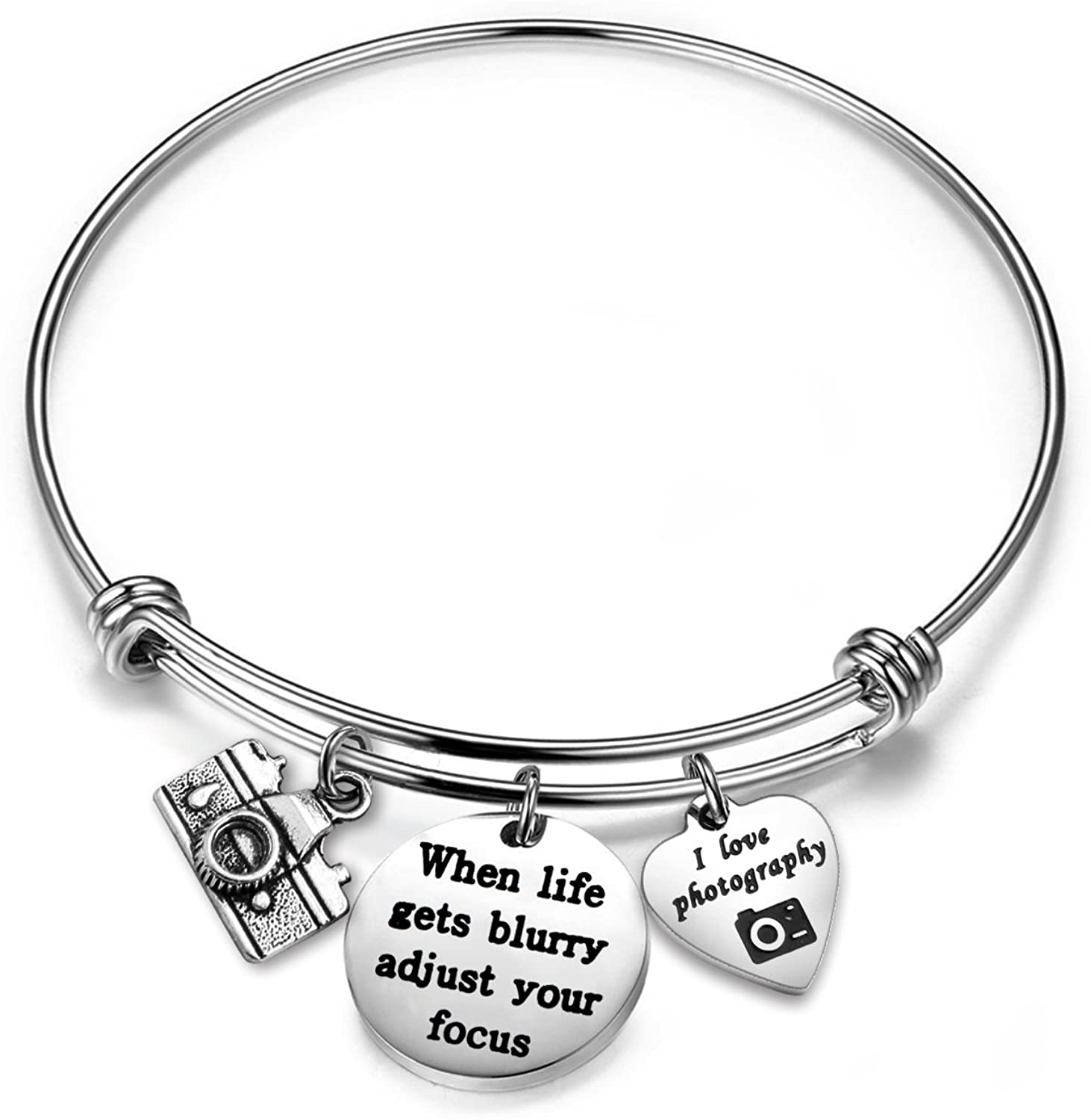 Gzrlyf Photographer Bracelet Camera Charm Bracelet When Life Gets Blurry Adjust Your Focus Jewelry Photographer Gift