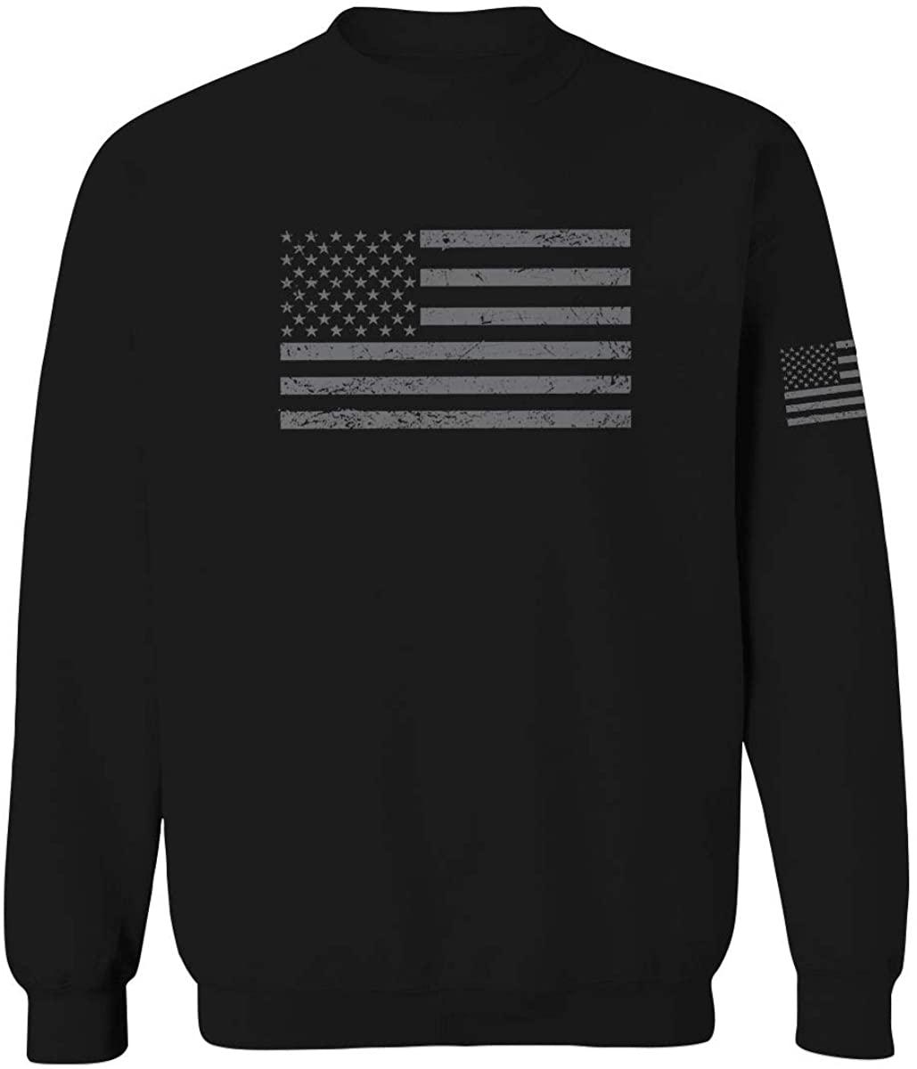 Gray America USA Patriotic American United States Vintage Flag Men's Crewneck Sweatshirt