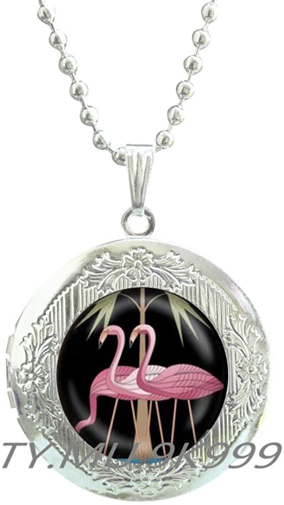 Yao0dianxku Pink Flamingo Locket Necklace Florida Flamingo Locket Pendant Flamingo Jewelry Locket Necklace Flamingo Bird Locket Necklace Flamingo Bird Charm.Y041