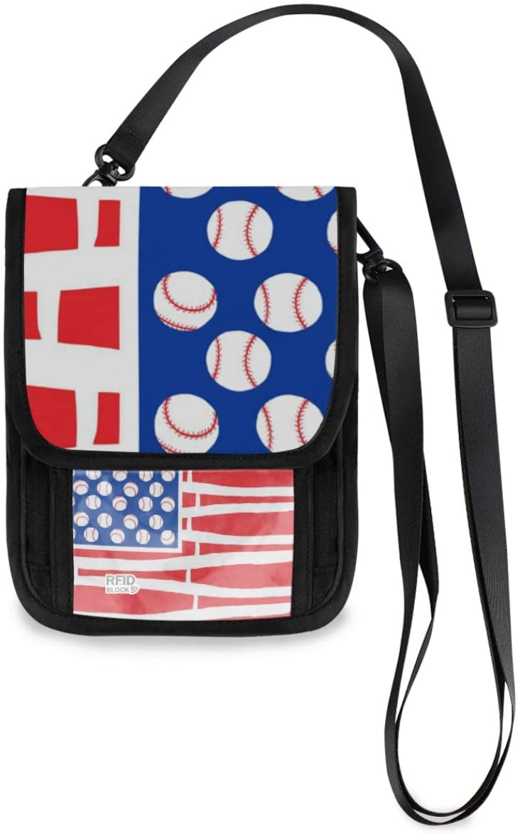 Travel Wallet Neck Pouch - American Flag Bats Balls Passport Holder with RFID Blocking for Woman Man Travel Document Holder