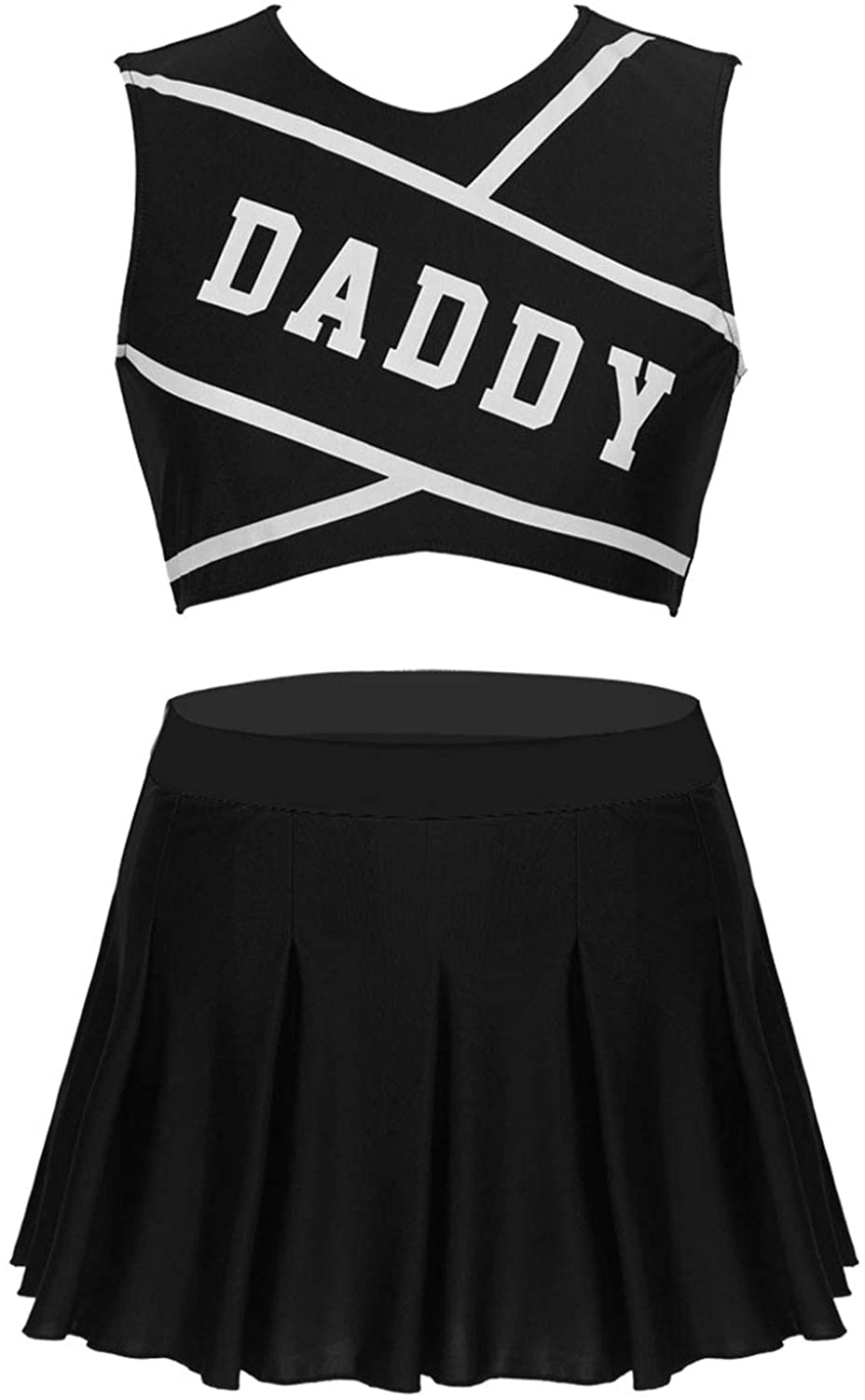 YiZYiF Women's Daddy Printed Cheer Leader Uniform Dress Cheerleading Role Play Outfit Set