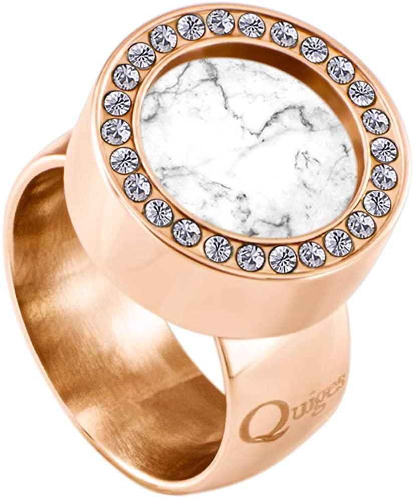 Quiges Ring with Zirconia Stones Made of Rose Gold Stainless Steel and Interchangeable White Colored Mini Coin