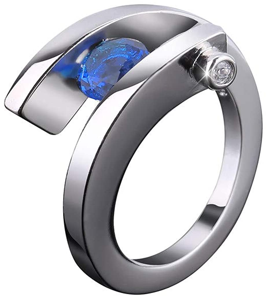 Qvwanle Fashion Unique Design Metal Geometric Square Zircon Female Ring Wedding Ring Jewelry Gift
