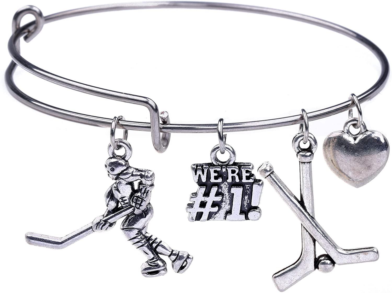 Field Hockey Hooked Sticks Charms Bracelet Wire Bangle for Teen Boys