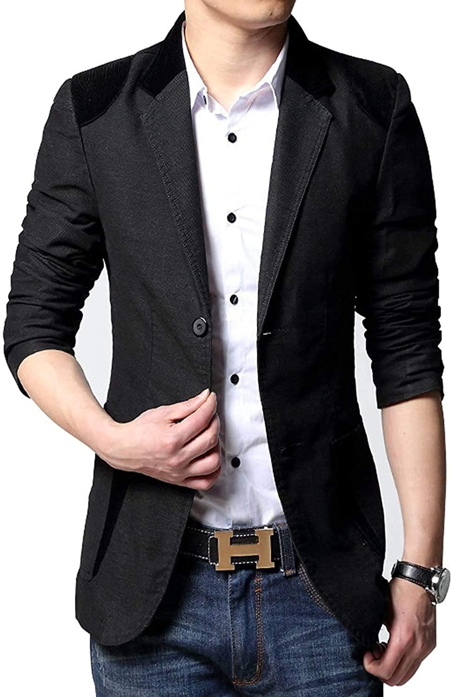 Men's 2-Button Contrast Color Corduroy Splicing Cotton Suit Blazer Jacket