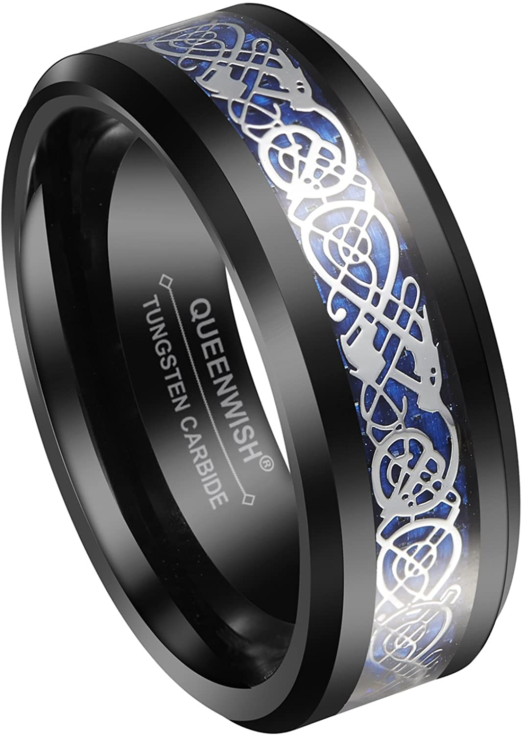 Queenwish 8mm Black Tungsten Men's Ring Celtic Dragon Wedding Band Blue Carbon Fibre Inlayed Infinity Band Size 6-14