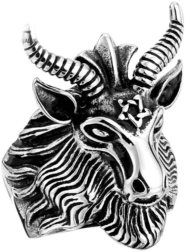 LOPEZ KENT Jewelry Vintage Goat Head Rings Stainless Steel Big Goat Head Rings Unique Biker Punk