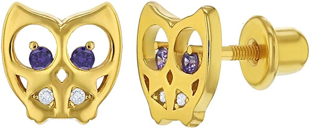 925 Sterling Silver Clear & Purple CZ Owl Safety Screw Back Earrings for Girls