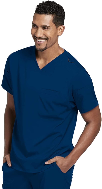 Grey's Anatomy GRST009 Wesley Sport V-Neck Scrub Top - Spandex Stretch Indigo 3XL