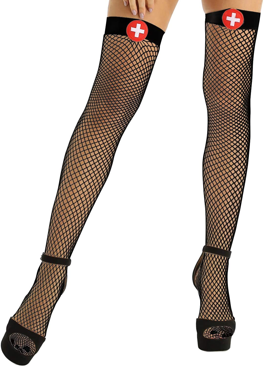 MSemis Woman Fishnet Thigh-High Stockings Pantyhose Tights Halloween Anime Costume Cosplay Lingerie