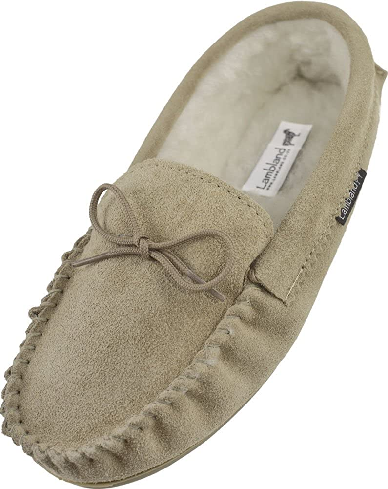LAMBLAND Mens Genuine Suede Sheepskin Moccasin Slippers with Hard Wearing Sole - Navy, Brown, Beige
