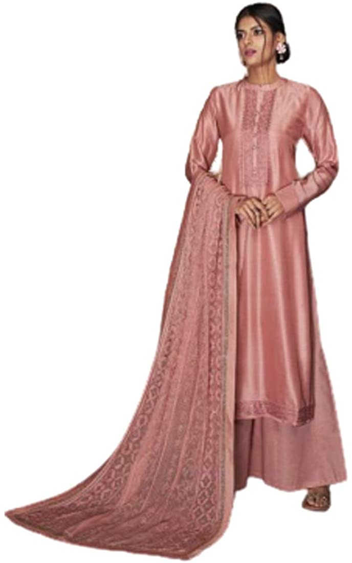 Peach Resham Silk Indian Party Punjabi Pajami Salwar Kameez Embroidery Festival Muslim Dress 4101B