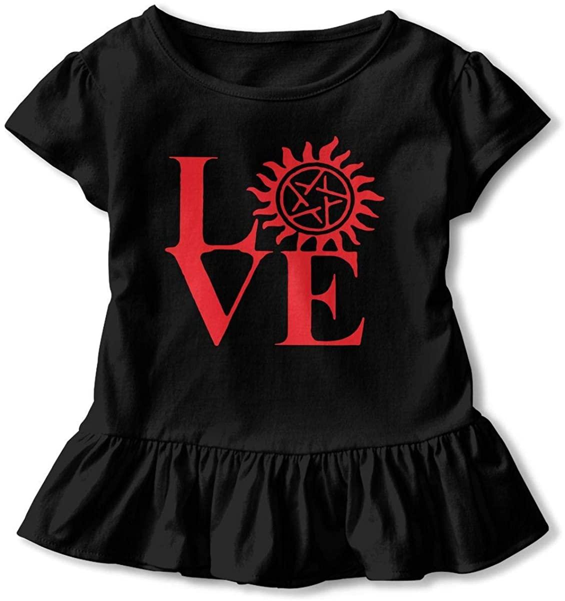 Love Supernatural 2-6T Old Child Girls Baseball Ruffle Short Sleeve Cotton T Shirt Top