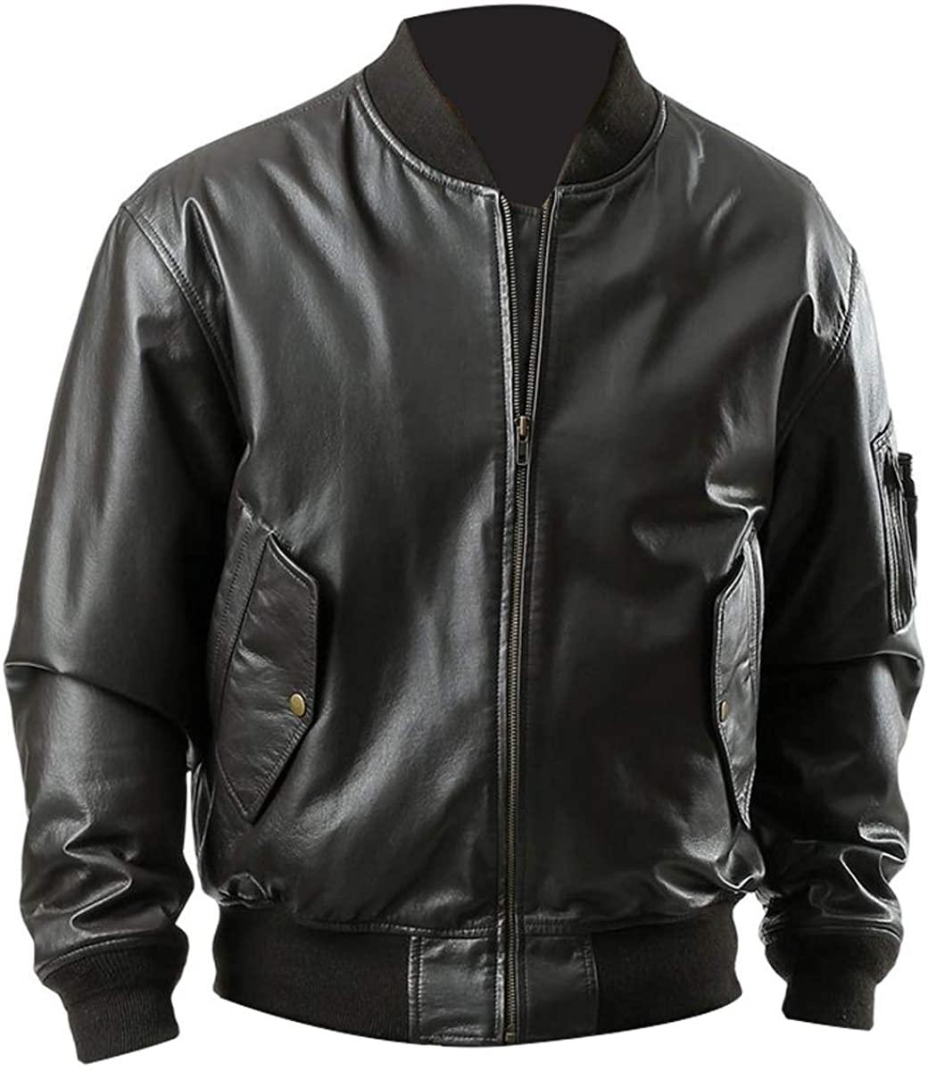 Mens Casual MA 1 Flight Bomber Black Biker Varsity Leather Outerwear Jacket
