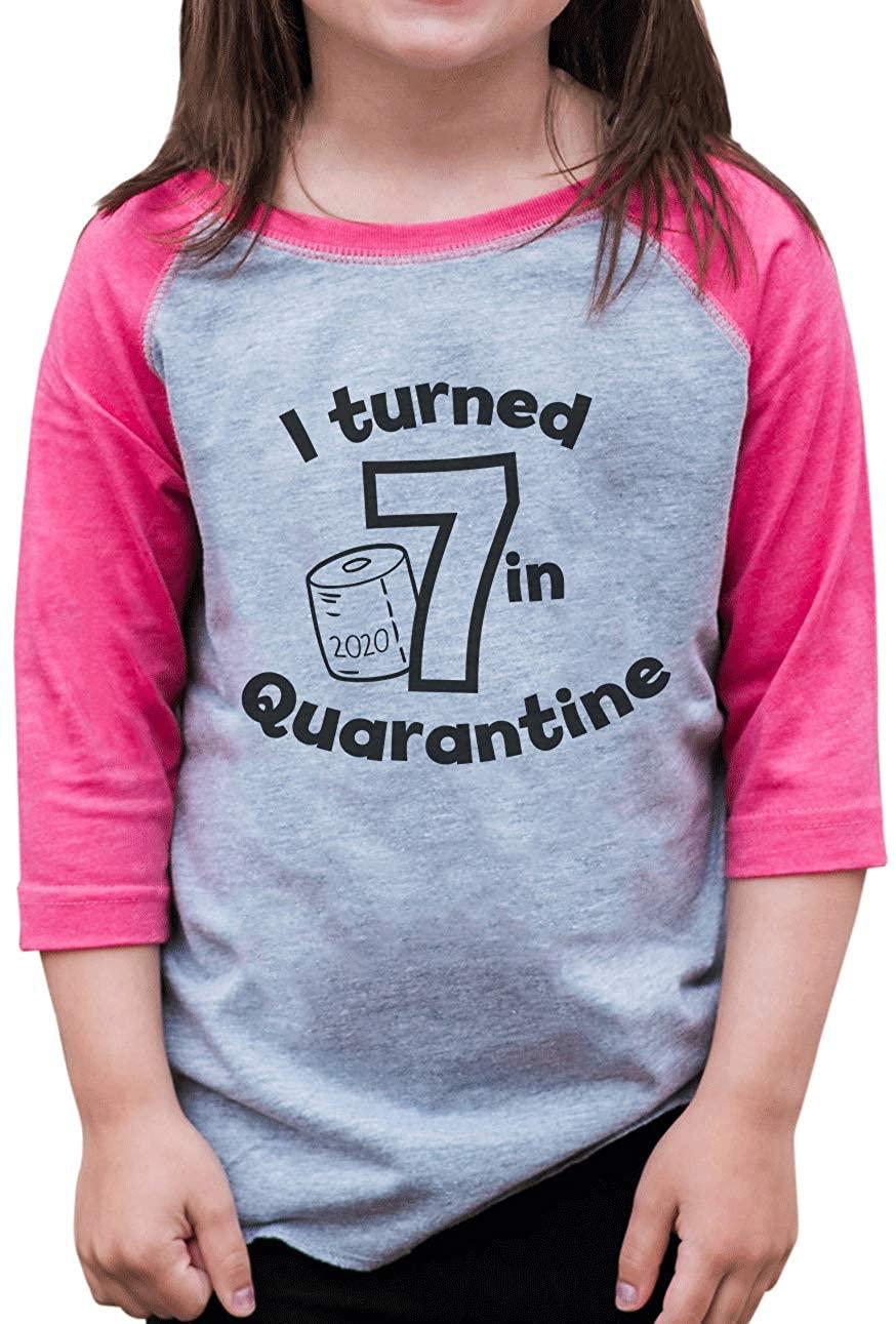 7 ate 9 Apparel Girls Seven Birthday Quarantine Pink Baseball Tee