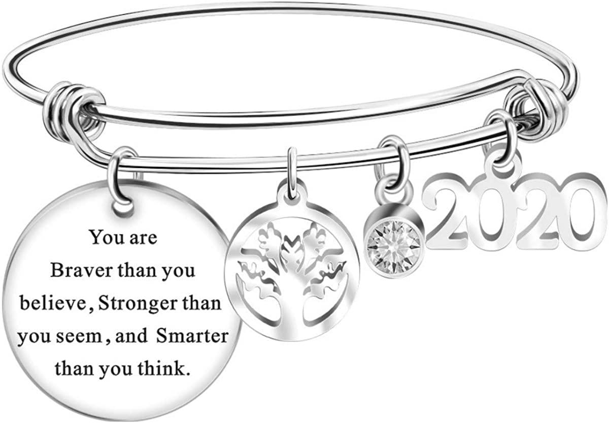 2020 Graduation Gift Bangle Bracelet - Congrats Grad Stainless Steel Inspirational Message Motivational Jewelry for Graduation Gifts for Women Girls