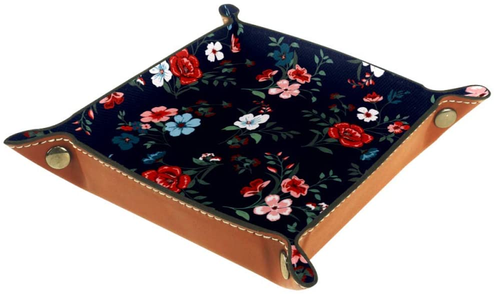 Inhomer Floral Pattern Leather Valet Tray Jewelry Tray Bedside Tray Desktop Storage Organizer for Coin Key