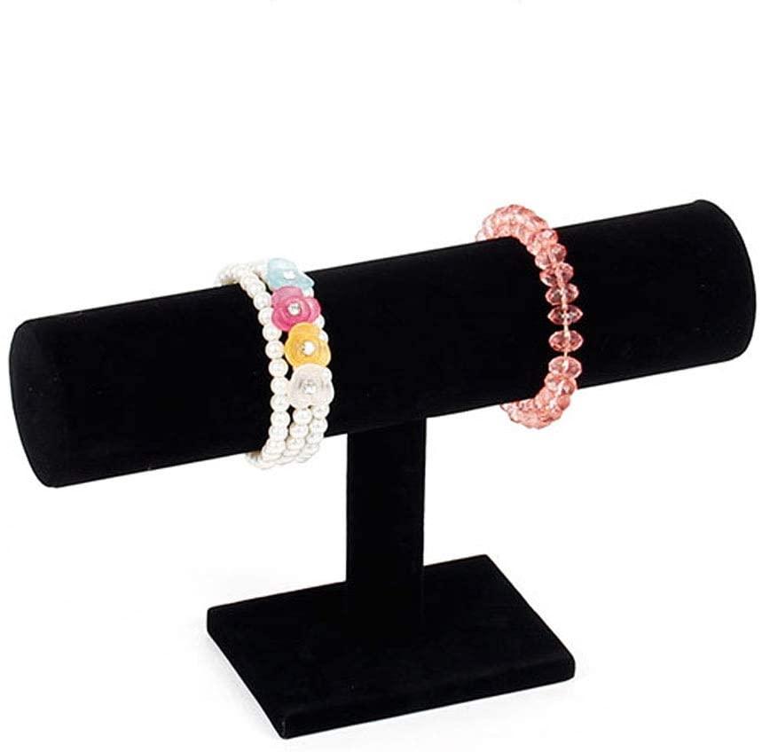 HOMANDA Homeanda Black Velvet T-bar Style Bracelet Hairband Scrunchies Jewelry Display Showcase Organizer Holder