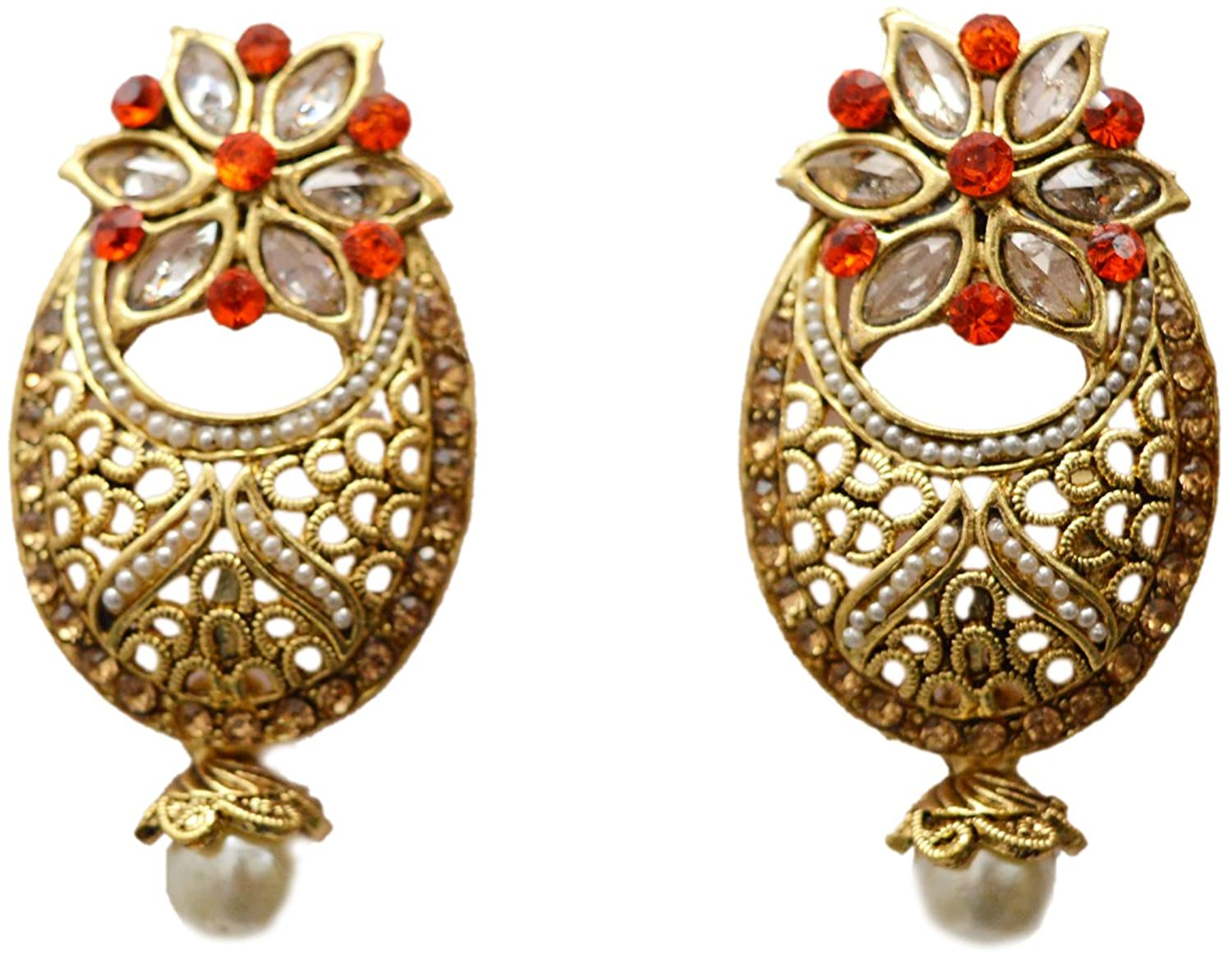 Indian Traditional Ethnic Jewelry Gold Tone Pearl Quartz Dangle Earring