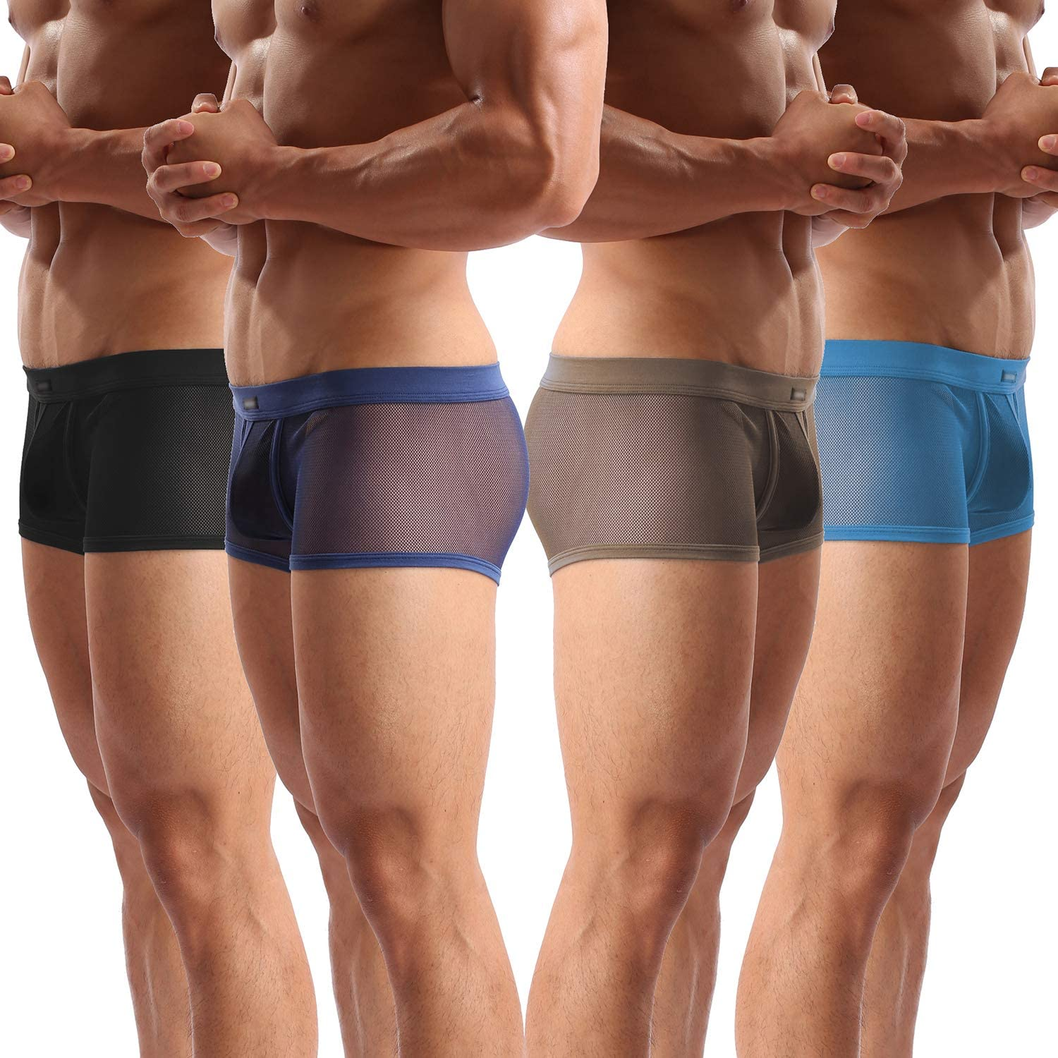 Mens Underwear Sexy Mesh Breathable Boxer Briefs Low Rise Cool Boxers Pack Set