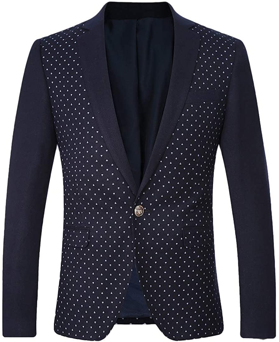 S-Fly Mens Fashion Polka Dot Print Work 1 Button Slim Fit Sport Coat Blazer Jacket