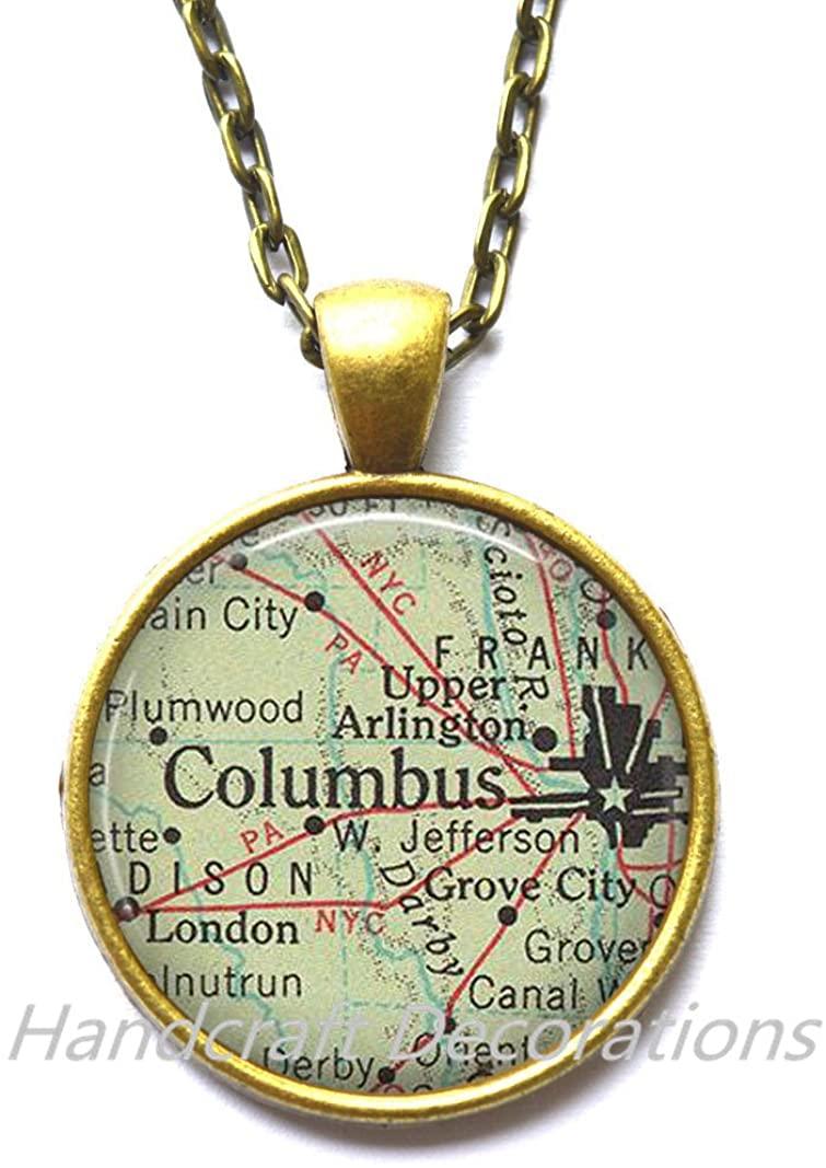 Charming Necklace,Columbus, Ohio Pendant Columbus map Necklace, Columbus map Pendant, Columbus Necklace,AO211