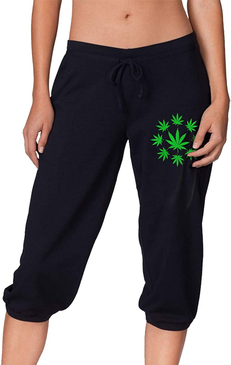 1763 Marijuana Enthusiast Weed Women's Casual Sports Cropped Trousers
