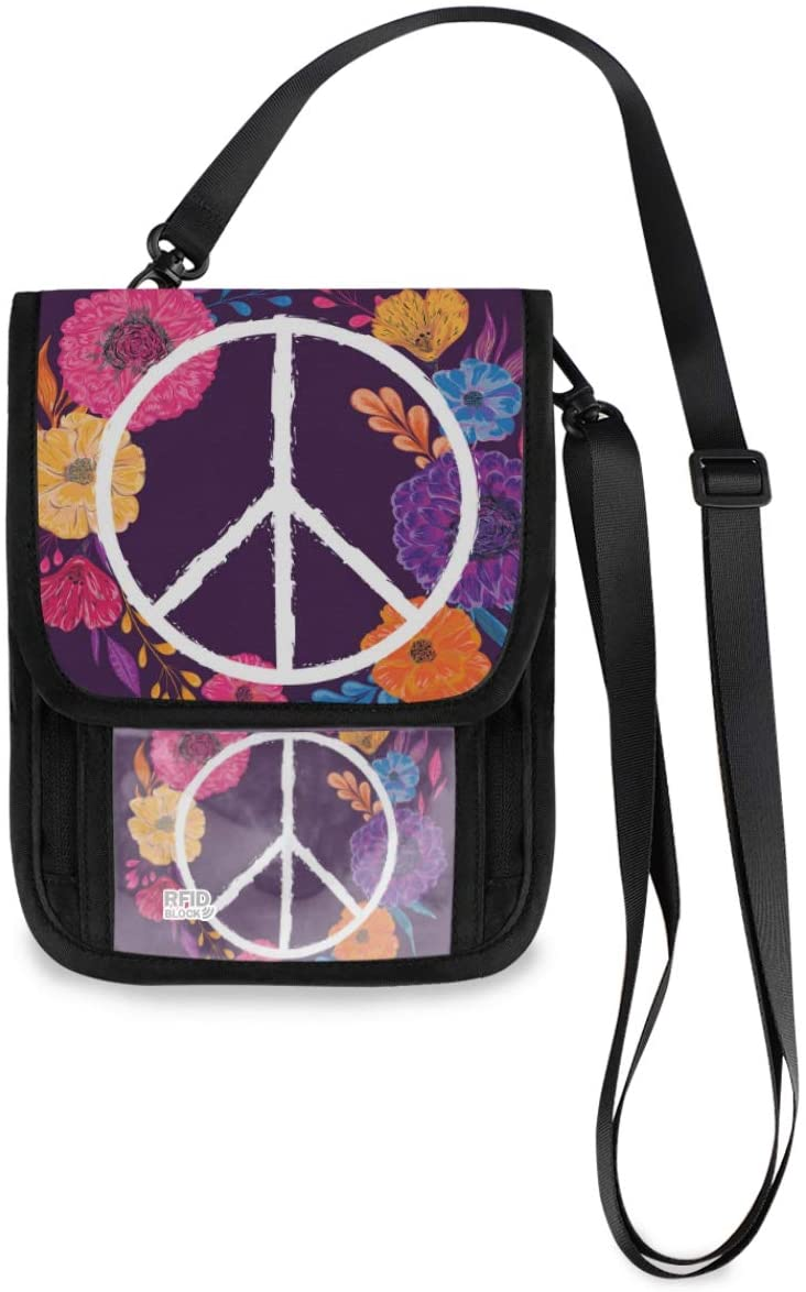 Neck Travel Wallet Neck Pouch - Hippie Peace Symbol Passport Holder with RFID Blocking for Women Men Anti Theft Wallet