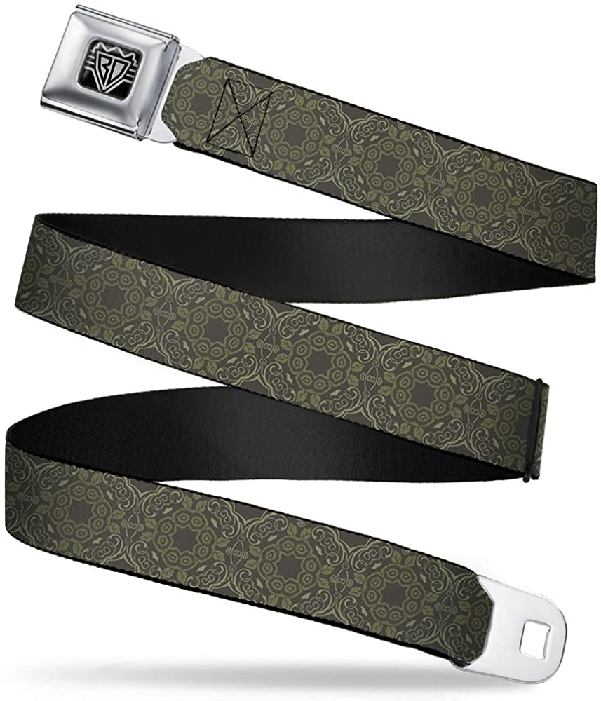 Buckle-Down Seatbelt Belt - Tapestry Charcoal/Olive - 1.5