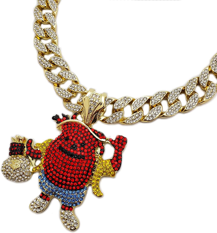 Hip Hop KOOL AID MAN Holding Money Bag Pendant & 18