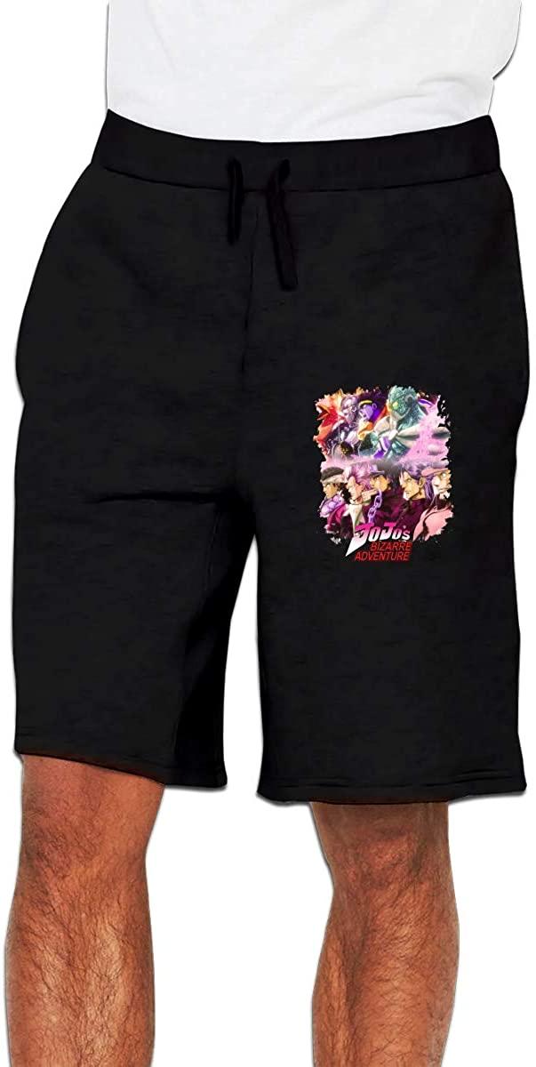 Qwtywqekeertyi JoJo's Bizarre Adventure Men's Shorts Casual Cotton Sports Drawstring Summer Beach Shorts