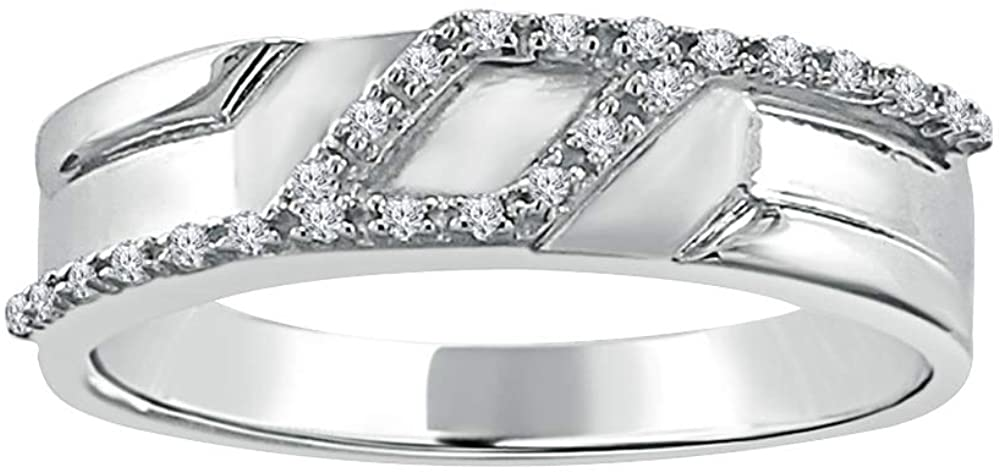 Pretty Jewellery Mens Wedding Band Ring 0.07 Carat Round Cut Natural Diamond H-I/I1-I2 in 925 Sterling Silver (White-Gold-Plated-Silver, 10)