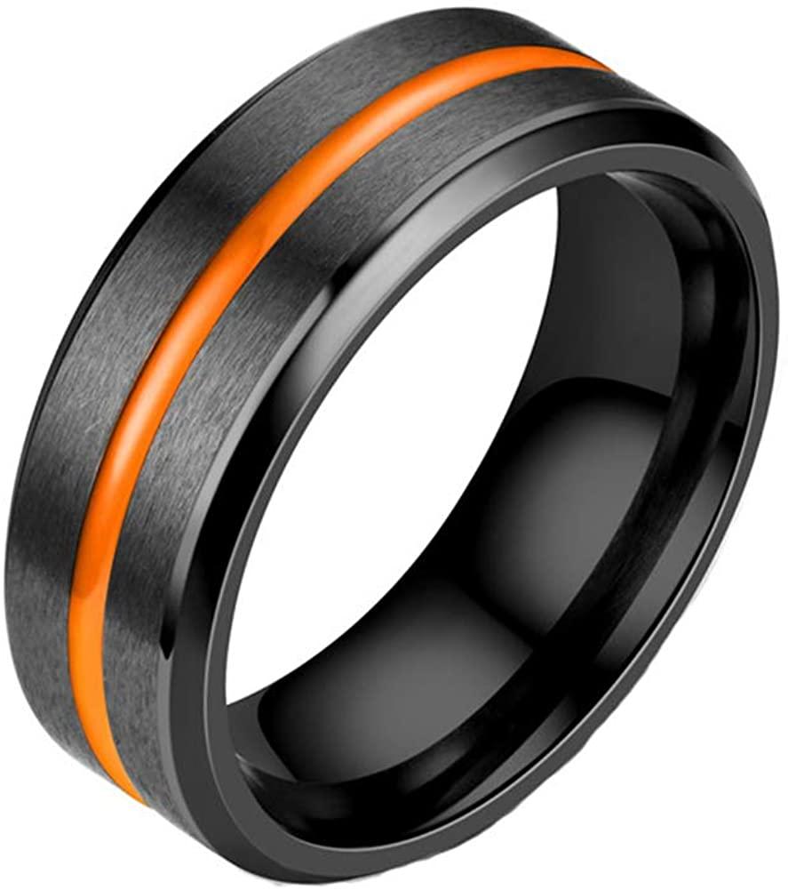 JAJAFOOK Titanium Rings for Men 8mm Black/Gold Matte Brushed High Polished Beveled Edges Engagement Wedding Band Comfort Fit