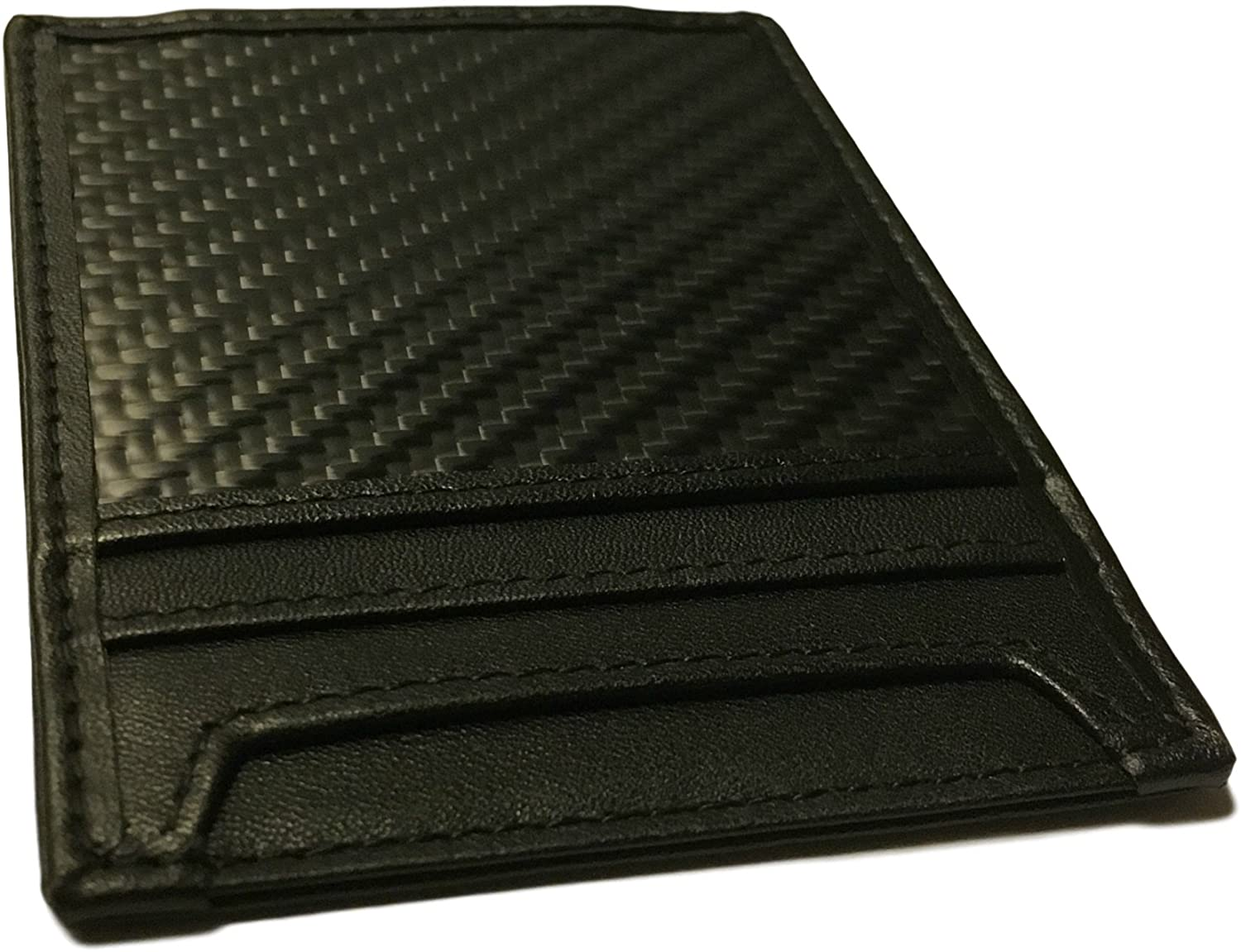Carbon Fiber Wallet, RFID blocker with Leather and Magnetic Money Clip