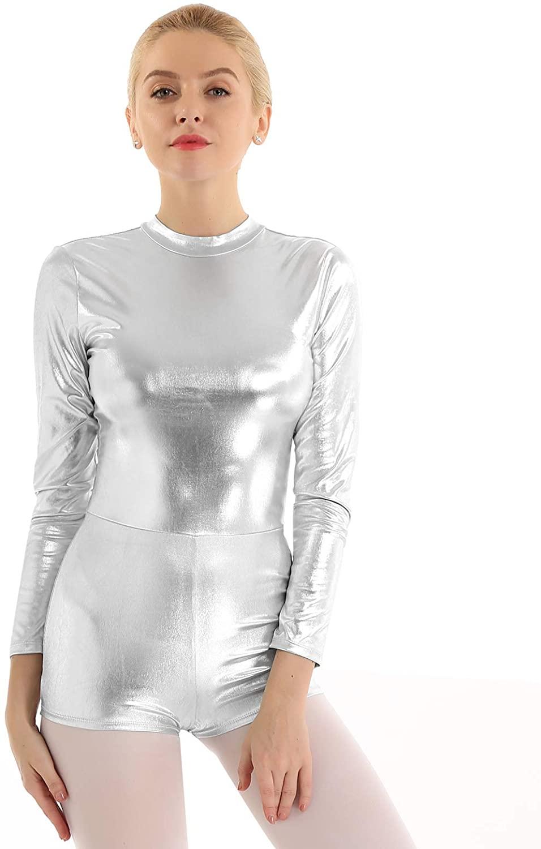iiniim Women's One Piece Metallic Long Sleeve Gymnastic Unitard Ballet Dance Leotard Bodysuit