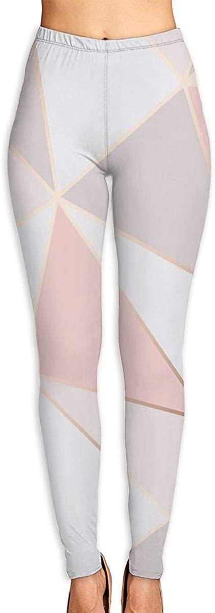 Nzioap0 Women's Soft Lightweight Pink Geometry Leggings High Waist Yoga Pants Training Leggings