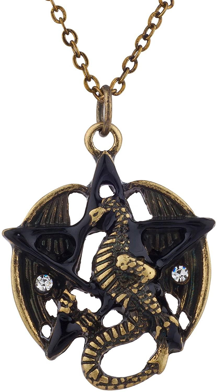 Lux Accessories Boho Burnish Metal Flying Dragon Pentagram Pendant Charm Necklace